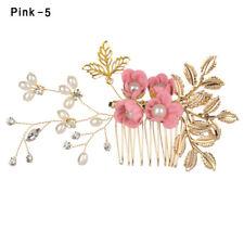 Crystal Crown Wedding Flower Hair Pin Leaves Tiara Bridal Clips Hair Combs