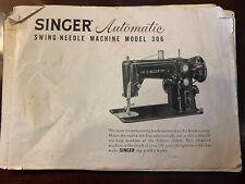Singer Automatic 306 Sewing Machine Swing Needle Instruction Manual Book Vintage