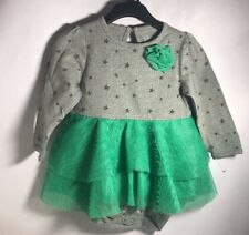 Baby Girl 9m Grey & Green Tutu Dress Cherokee