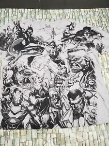 Marvel Mens Size XXL Marvel  Multi Character Graphic gray T Shirt