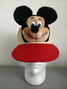 Vintage Walt Disney World Disneyland Souvenir Plush Mickey Mouse Sun Visor Cap