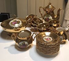 Bavaria Waldershof German 22k Gold , 28 Peice Tea Set.