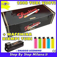 1200 tubetti Tubi SMOKING con filtro SIGARETTE VUOTE + Macchinetta Riempi Tubi