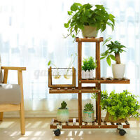 Wooden Plant Stand Shelf 4-Tier High Low Shelves Flower Rack Display For Plants