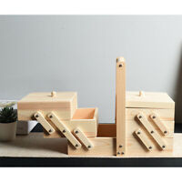 Sewing Box 3-Tier Wood Cantilever Sew Kit Container Organizer Holder Table Decor