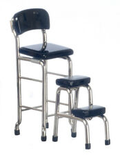 Black & Chrome Kitchen Tall Chair with Step Stool, Dolls House Miniatures