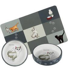 2 x Cat / Kitten Ceramic Bowls 0.3 l/ø 15 cm for short-nosed Breeds & Placemat