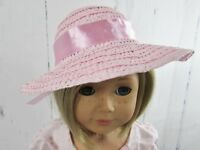 """Pink Straw Hat with Bow fits American Girl Dolls - Perfect for Blair - 18"""""""