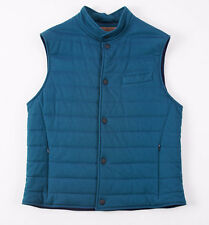 NWT $1195 LUCIANO BARBERA Teal Blue-Green Cotton Quilted Outer Vest M (Eu 50)