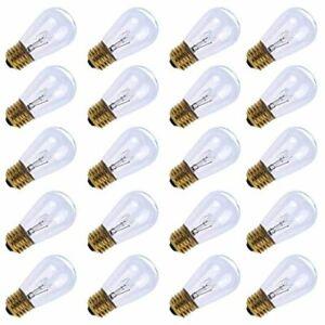 11 Watt S14 Warm Replacement Glass Bulbs E26 Medium Candelabra Screw 20 Pcs