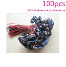 100pcs  9V 6F22 Black Battery Snap Connector clip Lead Wires Holder T-type Hard
