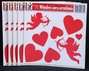 """Five (5) Vintage Color Clings Valentine's Day Hearts. Reusable 6"""" X 6"""" Sheets"""