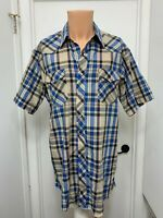 Wrangler Cowboy Cut Extra Long Tails Pearl Snap Short Sleeve Plaid Shirt 17