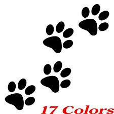 (Qty. 4) Cat/Dog Animal Paw Print Feet Vinyl Car Decal Window Sticker