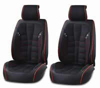 Universal High-Quality PU Leather & Fabric Black Front Car Seat Covers Cushion