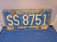 MICHIGAN LICENSE PLATE # SS 8751  2001 EXPIRED OVER 3 YEARS BLUE & WHITE