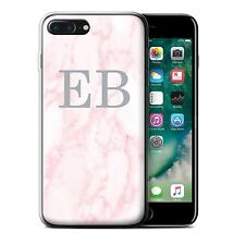 Personalised Pink Marble Fashion Gel/TPU Case Apple iPhone 7 Plus/Silver Stamp