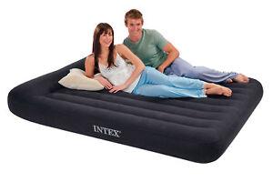 Intex Queen Classic Pillow Rest Airbed Air Mattress Bed w/ Built-In Pump  66777E