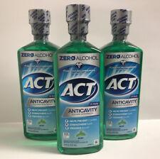 (3) ACT Zero Alcohol Anti Cavity Fluoride Mouthwash-Mint-18oz. Each