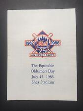 1986 New York Mets Old Timers Day Shea Stadium Scorecard 25th Anniv Program mint