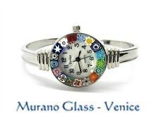 MURANO GLASS WATCH BANGLE with CERTIFICATE, Quartz SEIKO, spring opening CHROME