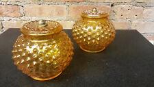 2 Amber Glass Hobnail Shades