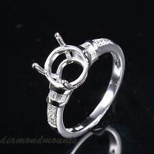 9mm Round Cut Solid 14K White Gold Natural Diamonds Semi Mount ring Setting