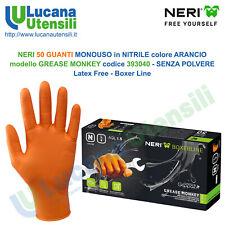 50 Guanti Monouso in Nitrile Arancio Senza Polvere Officina GREASE MONKEY 393040
