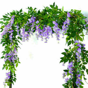 4X lila Künstliche Wisteria Blumen Vine Garland Pflanzen Laub Hinter Blume Ivy