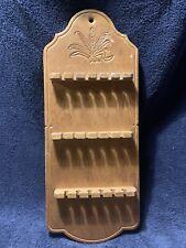"19"" x 8"" Vintage Wooden Souvenir Spoon Rack for 18 Spoons Display Wheat Design~"