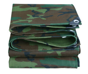 Camouflage Canvas Tarp Waterproof Outdoor Shelter Camping Tent Tarpaulin Canopy