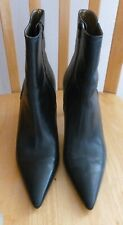 ANN TAYLOR Black Leather Fashion ANKLE BOOT High Heel Pointed Toe Brazil 8.5 M