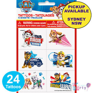 PAW PATROL PARTY SUPPLIES 24 TATTOOS LOOT FAVOURS BIRTHDAY GAME PRIZES
