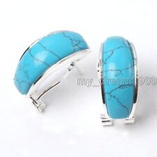 Fashion Natural Blue Turquoise 925 Sterling Silver Leverback Stud Earrings New