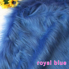"Royal blue SOLID SHAGGY FAUX FUR FABRIC LONG PILE FUR costumes, cosplay 60"" BTY"