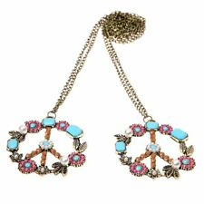 2x Vintage Pearl Beads Rhinestone Peace Sign Symbol Chain Pendant Necklace K5L3