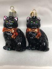 Owc Set Of 2 Black Cat Ornaments