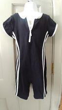 Girls Sz Med 8 - 10 Black n White Gymnastic Dance Unitard w Neck Zipper