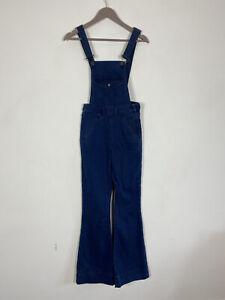 M&S Dark Blue Bootcut 70s 90s Stretch Denim Dungarees Size 8