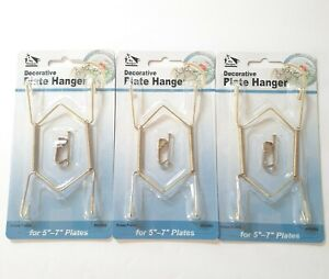 Decorative Plate Hangers Display 5 6 7 Inch Brass Plated Invisible Wire Lot of 3