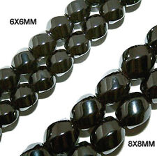 MAGNETIC HEMATITE BEADS HIGH POWER TWIST 8X8MM 6 SIDED BEAD STRAND HP33