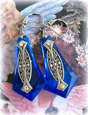 Vintage Art Deco Large Blue Drop Geometric Earrings Silver Plated Crystal Unique