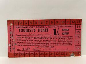 Brisbane City Council Tramways Dept. Tourist's Ticket 1/s 1934 Super Rare