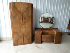 VINTAGE RETRO ART DECO WARDROBE & DRESSING TABLE CHEST OF DRAWERS HUGE MIRROR
