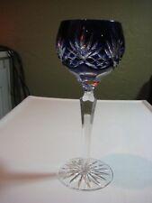 BOHEMIAN CZECH  WINE GLASS COBALT BLUE CUT TO CLEAR CRYSTAL GERMANY ? FRANCE?