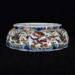 Chinese Antique Ming Dynasty Blue and White Famille Rose Porcelain Dish