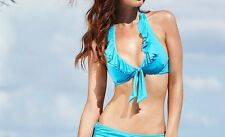 Kenneth Cole Bikini Top Sz M Aqua Blue Ruffle Halter Triangle Swim Bra RS5LB80