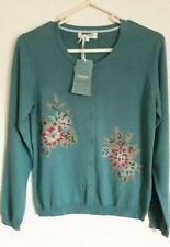 TULCHAN cardigan size 10/12 blue cross stitch floral limited edition cotton