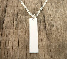 "New Vertical Bar Pendant 925 Sterling Silver Chain Necklace 16-20"" For Engraved"