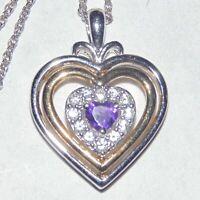 Sterling silver multi tone amethyst purple CZ heart pendant necklace signed JA
